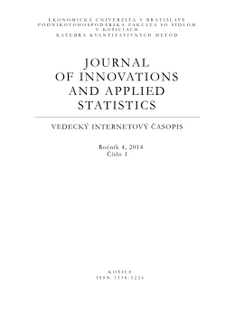 JOURNAL OF INNOVATIONS AND APPLIED STATISTICS