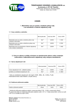 Cenník - TVK as