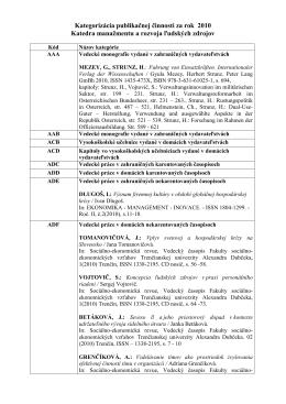 Kategorizácia publikačnej činnosti KMaRĽZ za rok 2010