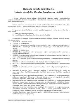 Stanovisko hlavného kontrolóra obce k návrhu