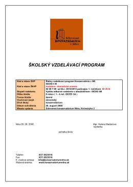 školský vzdelávací program - Súkromné konzervatórium v Nitre