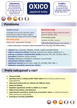 Anglický jazyk Nemecký jazyk Španielsky jazyk Francúzsky
