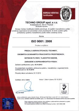 Certifikát ISO 9001:2008, 14001:2014