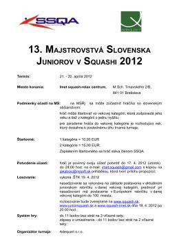 Propozície - IMET Squash Centrum, Bratislava