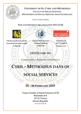 CYRIL - METHODIUS DAYS OF SOCIAL SERVICES