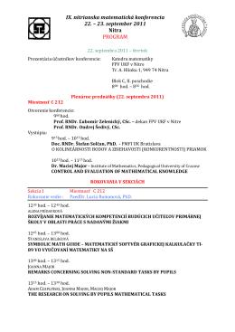 Program IX. Nitrianskej matematickej konferencie