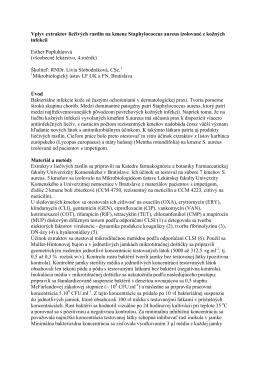Vplyv extraktov liečivých rastlín na kmene Staphylococcus