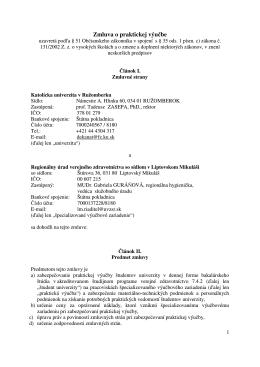 Zmluva o praktickej výučbe - RÚVZ so sídlom v Liptovskom Mikuláši