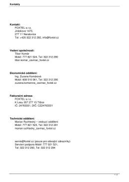 Kontakt: FOXTEL s.r.o. Jiráskova 1475, 277 11 Neratovice