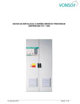 návod na inštaláciu a údržbu meničov frekvencie