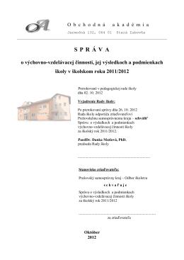2011/2012 - Obchodná akadémia Stará Ľubovňa