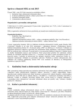 Správa o činnosti SEK za rok 2013