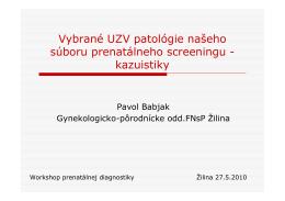 Vybrané UZV patológie našeho súbor
