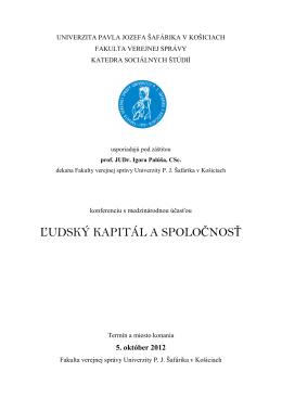 ľudský kapitál a spoločnosť - Univerzita Pavla Jozefa Šafárika v