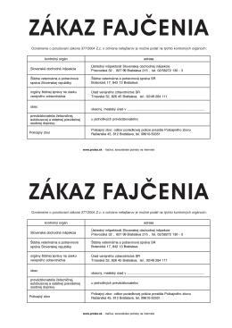 Výveska ZÁKAZ FAJČENIA 2xA5 (pdf - 37 kB)