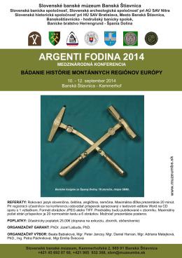 ARGENTI FODINA 2014 - Slovenská archeologická spoločnosť