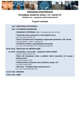 Podrobný program konferencie