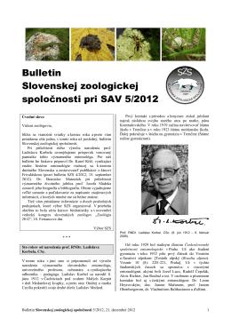 2012/5 - Slovenská zoologická spoločnosť pri SAV