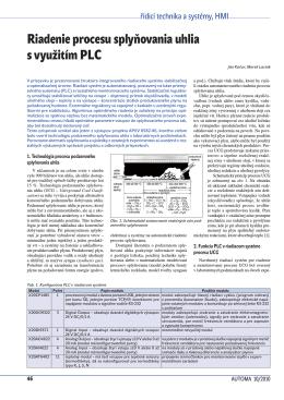 Riadenie procesu splyňovania uhlia s využitím PLC