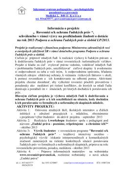 Informácia o projekte - rovesnicivprevencii.sk
