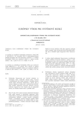 Odporúčanie Európskeho výboru pre systémové riziká z 20