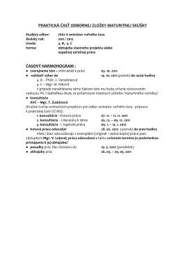 praktická časť odbornej zložky maturitnej skúšky