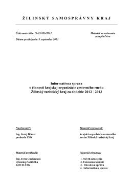 16 - IS o činnosti KOCR ŽTK za obdobie 2012 - 2013