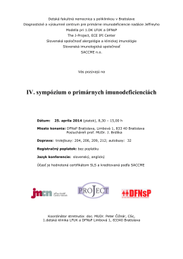 IV. sympózium o primárnych imunodeficienciách
