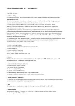 Cenník externých služieb SPP - distribúcia, a.s.