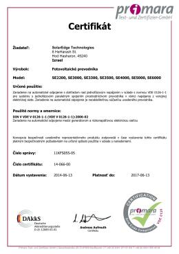 Certifikát - SolarEdge