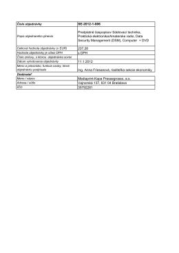 SE-2012-1-006 Predplatné časpopisov Sdelovací technika
