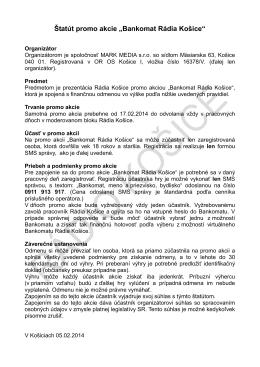 """Štatút promo akcie """"Bankomat Rádia Košice"""""""