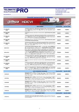 Cenník kamerových systémov a príslušenstva 04/2014