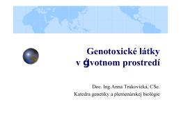 Genotoxické látky v životnom prostredí