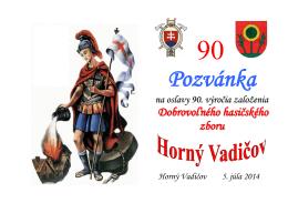 Pozvánka – 90. výročie založenia Dobrovoľného zboru Horný Vadičov