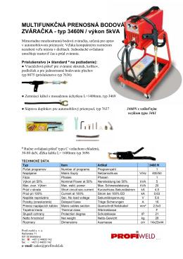 Multifunkčná prenosná bodová zváračka typu 3460N v pdf
