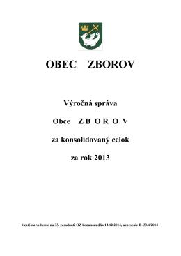 Výročná správa obce Zborov za konsolidovaný celok za rok 2013