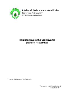 Plán kont. 2011-12 - ZŠ s MŠ Zborov nad Bystricou