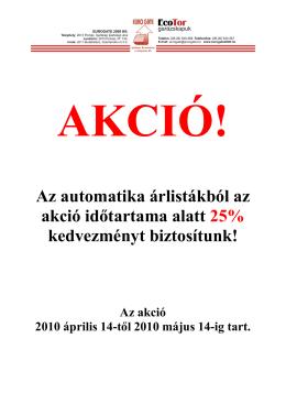 Akciós Automatika árlista 2010.04.14-2010.05.15-ig