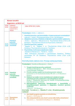 Štvrtok 12 - Psychiatrická spoločnosť SLS