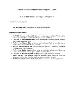 Zoznam členov Hodnotiacich komisií Programu SASPRO 1