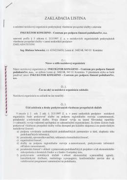 Zakladacia listina: INKUBÁTOR KOMÁRNO – Centrum pre podporu