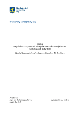 Správa o V-V TKEJ 2012-13 - Tanečné konzervatórium Evy Jaczovej