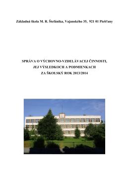 Správa o výchovno-vzdelávacej činnosti 2013-2014