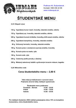ŠTUDENTSKÉ MENU - INDIANS steakhouse & pub, Ružomberok