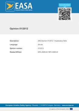 Opinion 01/2012 - EASA