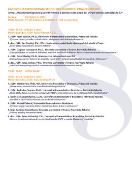 časový harmonogram sekce: mezinárodní právo veřejné