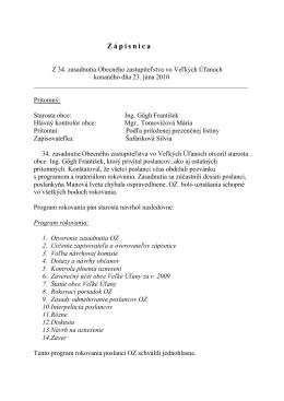 Zápisnica z 34. zasadnutia obecného zastupiteľstva