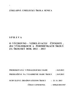 Správa výchovno-vzdelávacej činnosti 2012-2013