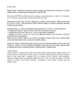 Hl. 28.01.2015 Pekáreň Sézam v Nemšovej oznamuje, že prijme do